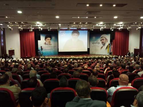 sayyed nasrola pronuncia un discurso en una ceremonia religiosa